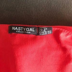 Nasty Gal Dresses - Nasty Gal Red Button Down Mini Tunic Dress SZ 8